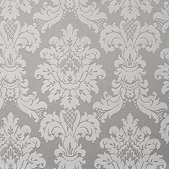Silver Metallic Damask Wallpaper Vintage Faux Fabric Vinyl Arthouse Messina