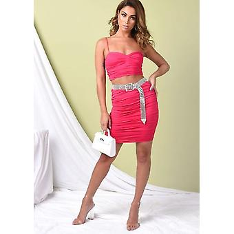 Ruched Skinny tiras Slinky Crop Top e saia co Ord Set Hot Pink