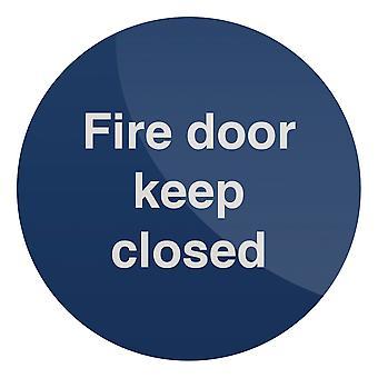 Branddeur houden gesloten teken-100x100mm zelfklevend