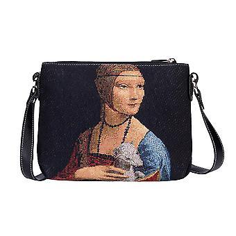 Da vinci - lady with an ermine crossbody bag by signare tapestry / xb02-art-ldv-ermine