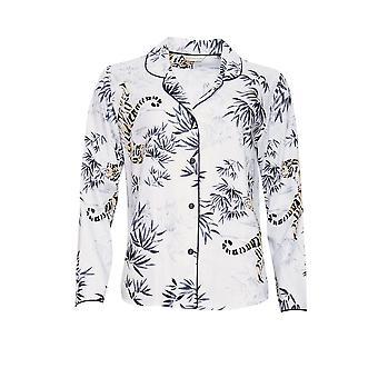 Cyberjammies 4343 Women's Willow White Tiger Print Cotton Pyjama Top