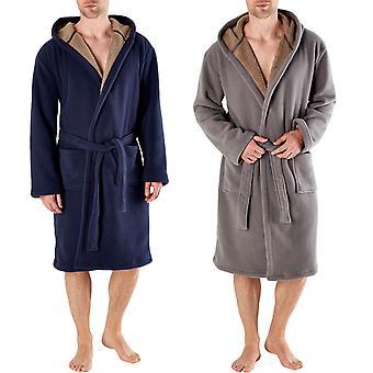 Harvey James Mens Warm Super Soft Fleece Hooded Bathrobe Dressing Gown