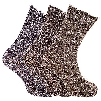 Mens Chunky Knit Outdoor Boot Sock (3 Pairs)