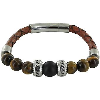 Michelsons of London Leather with Tiger Eye and Matt Agate Bracelet - Brown