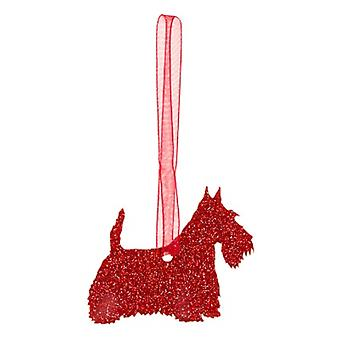 Red Scottish Terrier Style 3 Glitter  Christmas Decoration