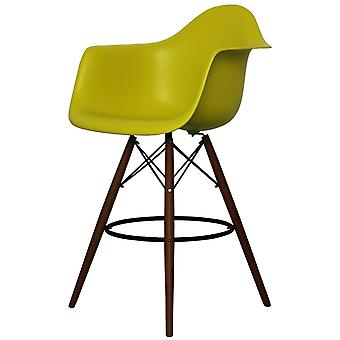 Charles Eames Style Mustard Yellow Plastic Bar Stool With Arms - Walnut Legs