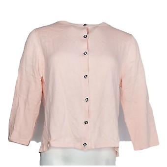 H par Halston Women-apos;s Sweater Cropped Cardigan w/ Side Rib Pink A290686