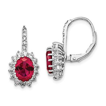10mm Cheryl M 925 Sterling Silver Simulated Ruby and Cubic Zirconia Leverback Earrings Jewelry Gifts for Women