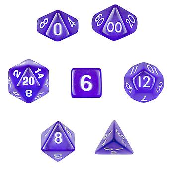 7 Die Polyhedral Dice Set in Velvet Pouch-Translucent Purple