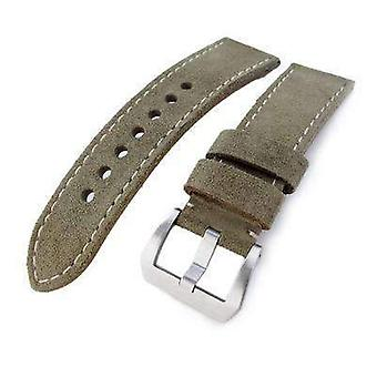 Strapcode leather watch strap 24mm miltat military green nubuck leather watch band, beige stitching