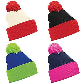 Beechfield Kids Snowstar Duo Two-Tone Winter Beanie Hat
