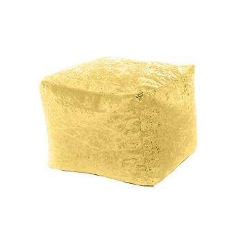 Nijlpaard | Square Bean Bag Footstool Pouffe Seat in Shiny Crushed Velvet Fabric (Bling Chartreuse)