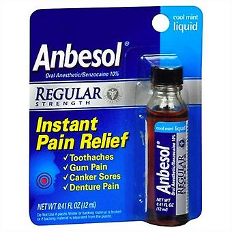 Anbesol instant pain relief liquid, regular strength, cool mint, 0.41 oz