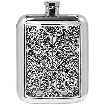 Celtic Knots Stamped Pewter Purse Flask - 6oz