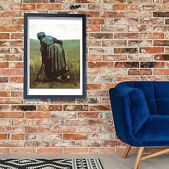 Vincent Van Gogh - talonpoika nainen kaivaa, 1885 02 Juliste Tulosta Giclee