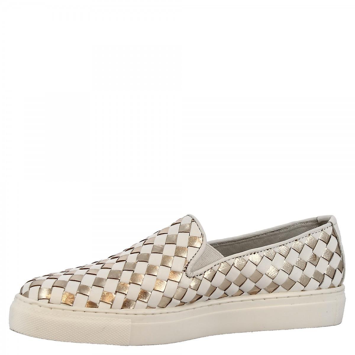 Leonardo Shoes Women's handmade slip-on sneakers in white gold woven leather