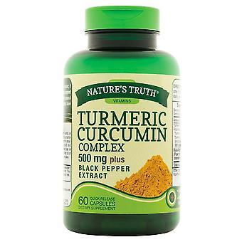 Nature'a verdade complexo de curcumina de cúrcuma, 500 mgs, mais extrato de pimenta preta, cápsulas, 60 ea