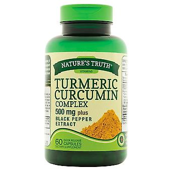 Nature's waarheid kurkuma curcumine complex, 500 mg, plus zwarte peper extract, capsules, 60 ea