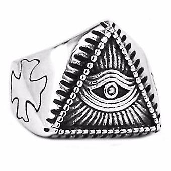 Bold biker eye of providence freemason ring