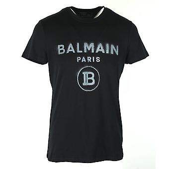 Balmain Black T-Shirt Silver Spray Effect Logo