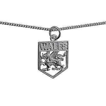Silver 18x15mm Wales Badge Pendant with a curb Chain 24 inches