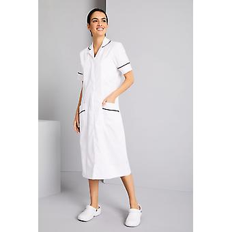 SIMON JERSEY Healthcare Dress, White With Navy Trim