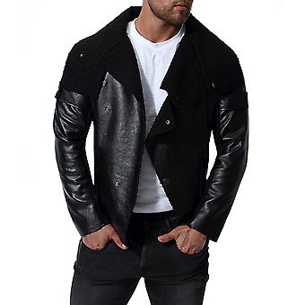 Allthemen Men's Leather Coat Oblique Blacket Lapel Autumn Leather Jacket