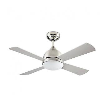 Borneo Ceiling-fan, In Satin Nickel, Glass And Mdf