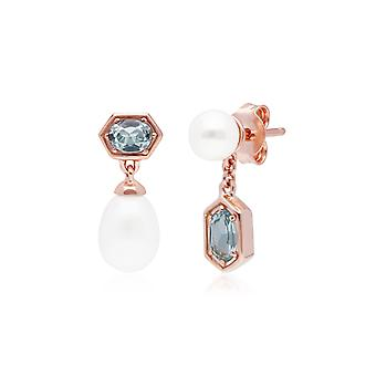 Modern Pearl & Blue Topaz Mismatched Drop Earrings in Rose Gold Plated Sterling Silver 270E030405925