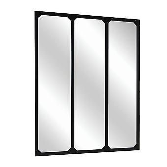 Charles Bentley Large Industrial Urban Wrought Iron Square Panelled Mirror with Frames Black 95x120cm