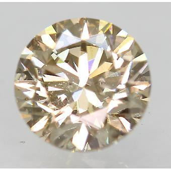 Cert 0.70 Carat Light Brown VVS2 Round Brilliant Natural Loose Diamond 5.53m 3EX