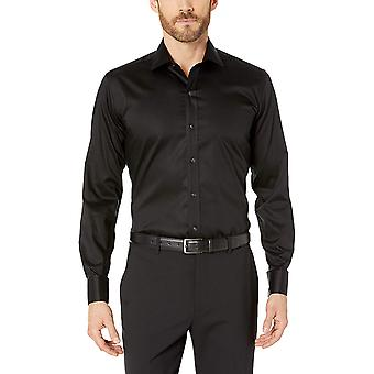 BUTTONED DOWN Miehet&s Slim Fit Ranskan Ranneke Micro Tvilli Ei-iron mekko paita, musta, 17&com; Kaula 34& hiha