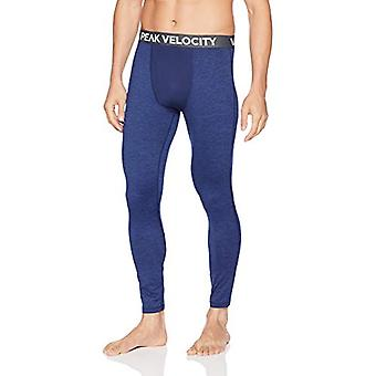 Peak Velocity Men's Thermal Cold-weather Athletic-Fit Tight, Alpine Blue Heather, XXX-Large