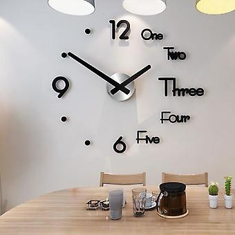 Modern Design Quartz Needle Large Wall Clocks - 3d Diy Acrylic Mirror Mechanism