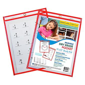 40814BNDL10EA, Tasca riutilizzabile a secco, Neon Red, 9 x 12 (Set di 10 tasche)