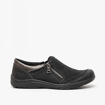 Earth Spirit Babylon Ladies Leather Casual Shoes Black