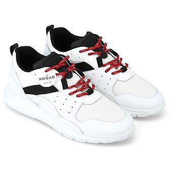 Hogan Men's sapatos de tênis de moda em couro branco e tecido com detalhes pretos e rendas vermelhas