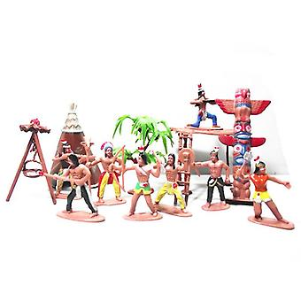 13pcs/set Native Plastic Indian Tribes Model American Art Figure Doll Toy