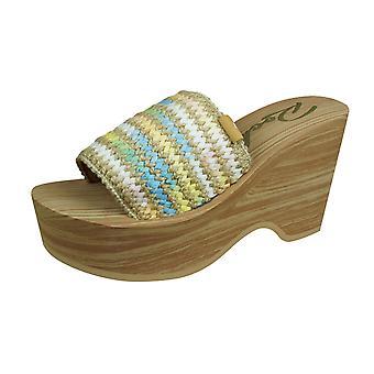Rakett hunden hills tåkete dag kvinners kile sandaler - naturlig
