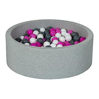 Ball pit 90 cm med 300 bolde hvid, lilla og grå