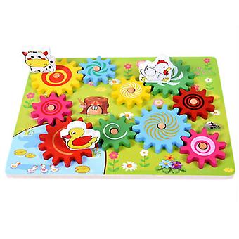 Wooden Animal Combination Rotating Gearwheel - Educational