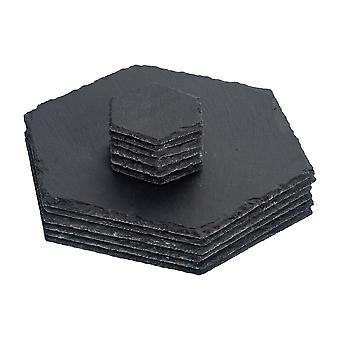 Sechseck natürliche Schiefer Tischmat Set - 6 Tischsets & 6 Untersetzer