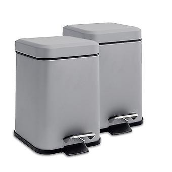 Square Steel Bathroom Pedal Bin with Removable Inner Bucket, 3 Litres - Grey - Pack of 2