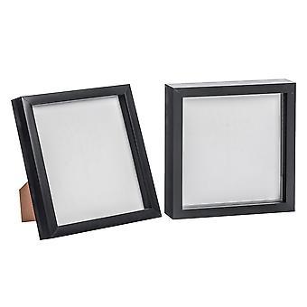 Nicola Spring Black 8x8 Box Photo Frame - Standing & Hanging - Pack of 2