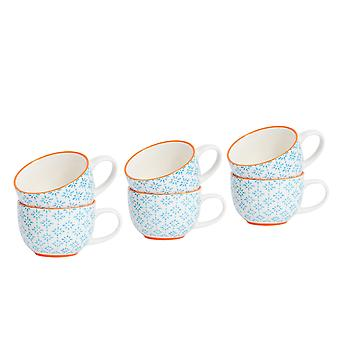 Nicola Spring 6 Piece Hand-Printed Cappuccino Cup Set - Japanese Style Porcelain Coffee Teacups - Blue - 250ml