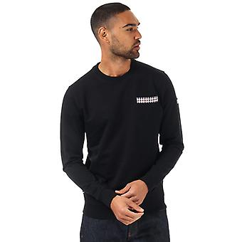 Men's Weekend Offender Byers Check Pocket Crew Sweatshirt in Black