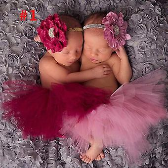 Antique Rose Pretty Baby Tutu Et Flower Headband Newborn Photography Prop