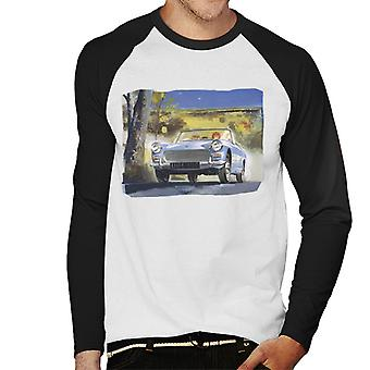 Austin Healey Countryside Background British Motor Heritage Men's Baseball Long Sleeved T-Shirt