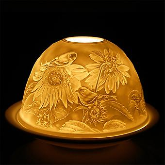Nordic Lights Candle Shade & Plate - Bird On Flower