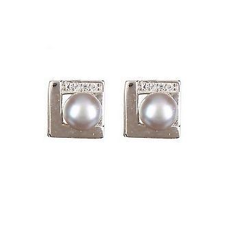 Sølv øredobber og perler av grå kulturer og zirkoniumoksider - apos;Perler innrammet av sølv;